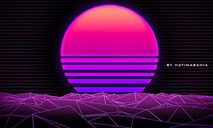 Dark 70s 80s 90s Retrowave futuristic sunset