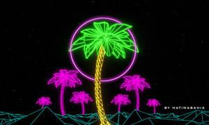 70's 80's Retrowave futuristic palm and sunset