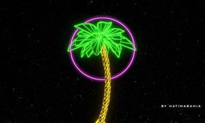 70s 80s Retrowave futuristic palm