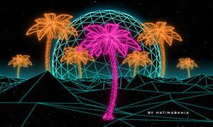 70s 80s Retrowave futuristic palm and sunset