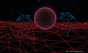 dark Neon light palms background