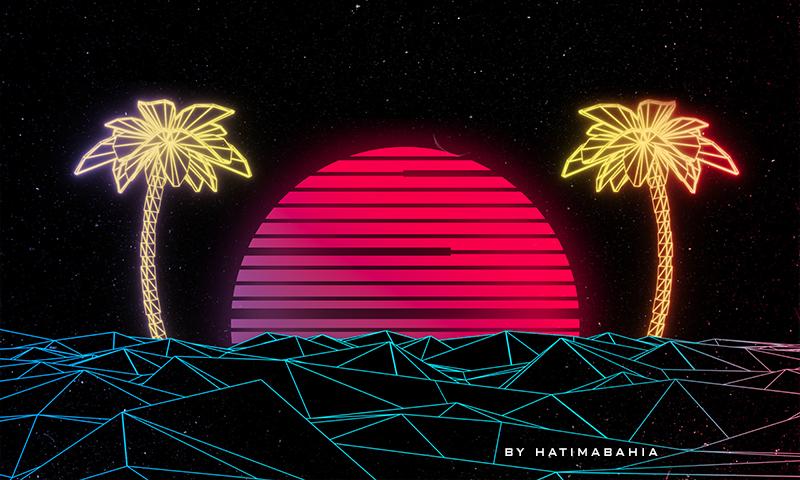 3D vaporwave background with neon sun