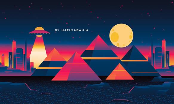 90s 80s Retrowave synthwave futuristic city