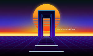 80s styled sun landscape with mysterious neon