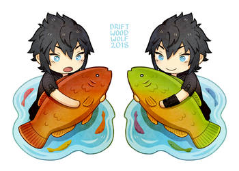 Noctis + Fish (Charm) by driftwoodwolf