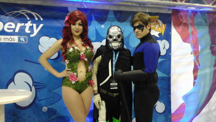 poison ivy, death gun, and nightwing by wolfpr