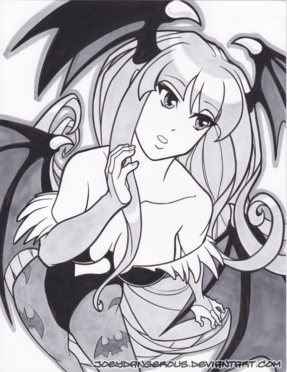 Morrigan pin up marker drawing by JoeOiii