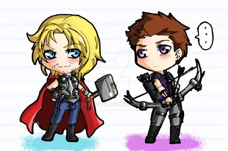 Avengers Chibi set Hawkeye and Thor by Lezzette on DeviantArt