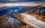 The Aletsch Glacier view from the air.