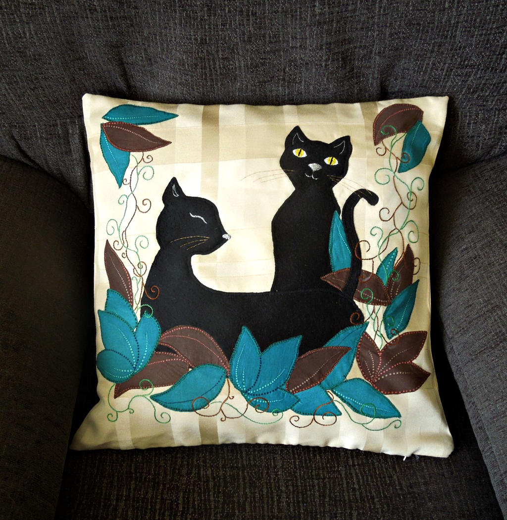 Handmade appliqued pillow cover 'Two Black Cats' by Pandalanda