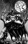 Batman On A Tree Ink Wash (Al Rio homage)