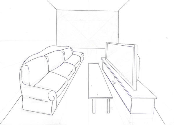 Line Drawing Room : Living room lineart by ealm on deviantart
