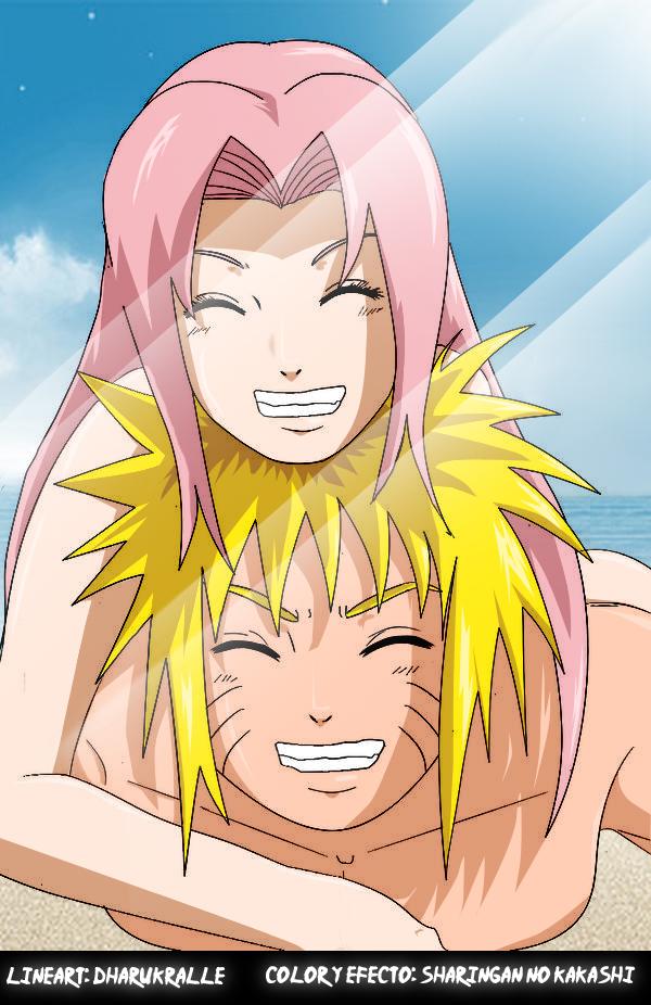 Naruto y Sakura en la playa by Darka22
