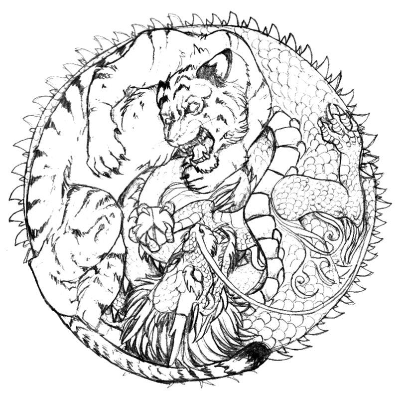 tiger coloring pages realistic dragons   crazy tiger vs. Dragon by Anarchpeace on DeviantArt