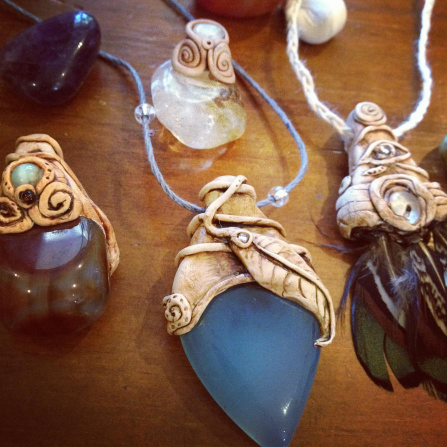 gemstone necklace with clay setting by tegan159 on deviantart
