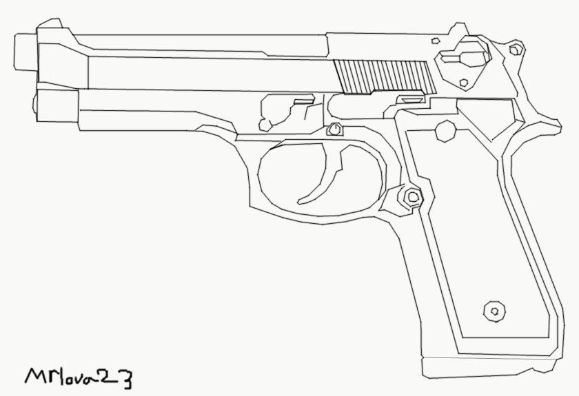 Line Art Gun : M outline by mrlova on deviantart