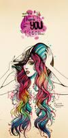 dip dye hair of rainbow