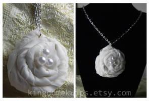 White Flower Rosette Necklace by denimcraze