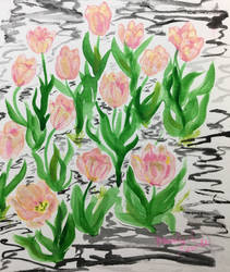Peachy Tulips by maddieamie
