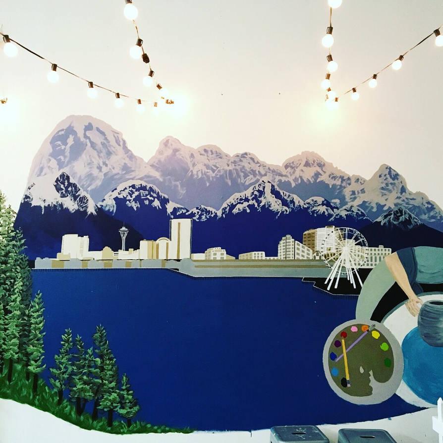 Mural Progress at Redmond Art Works by maddieamie