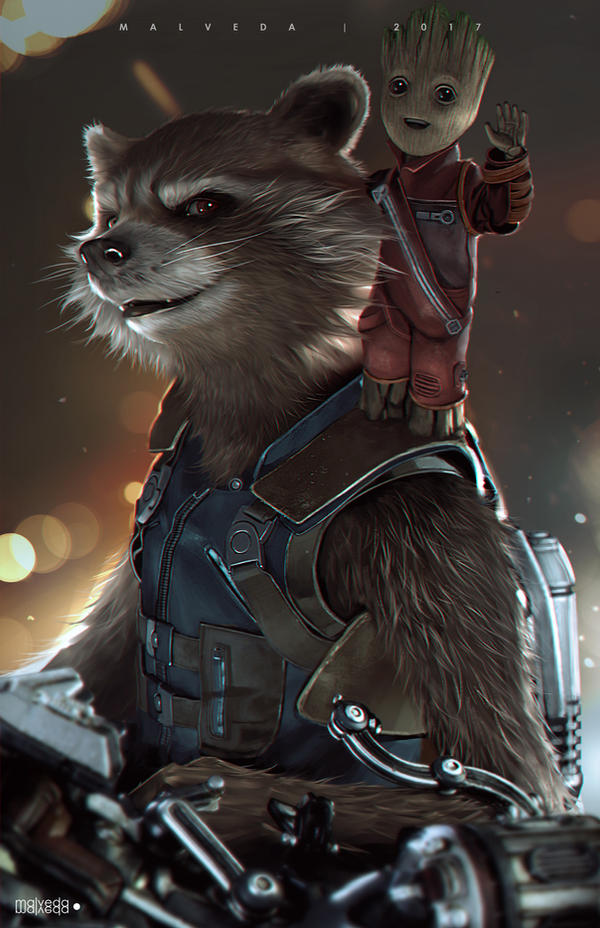 Rocket and Baby Groot by alex-malveda