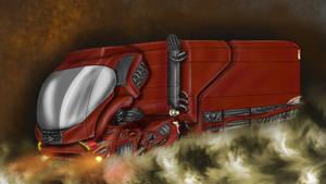 Futuristic hovering truck