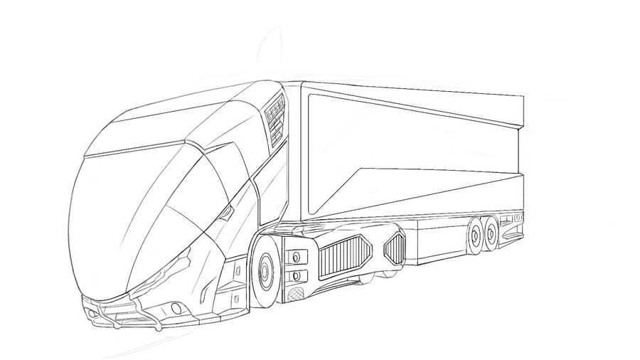 Line Drawing Truck : Distribution truck line sketch by actrosslt on deviantart