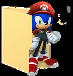 Sonic  Folder Icon [Mario Clothes] by Hinatka3991