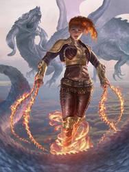 Flaming girl reg full res. by JohnSilva