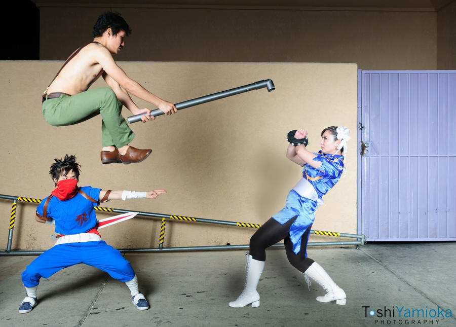 Strider, Haggar, Chun Li Cosplay by gacktstream