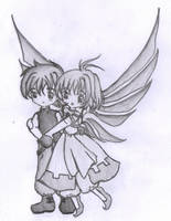 Chibi Syaoran and Sakura by Violet1202