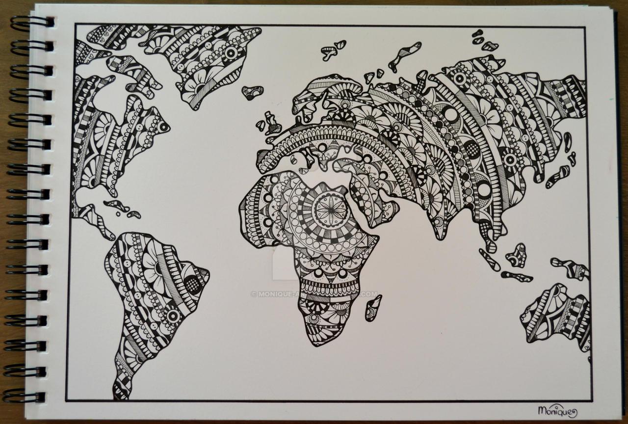 Drawing World Map by Monique Art on DeviantArt