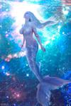 Mermaid floating in the Ocean Sky