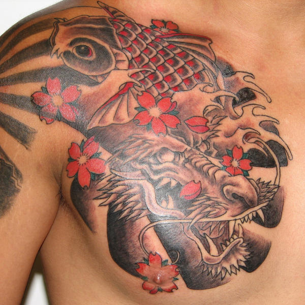 Dragon and Koi chest plate by pisopez