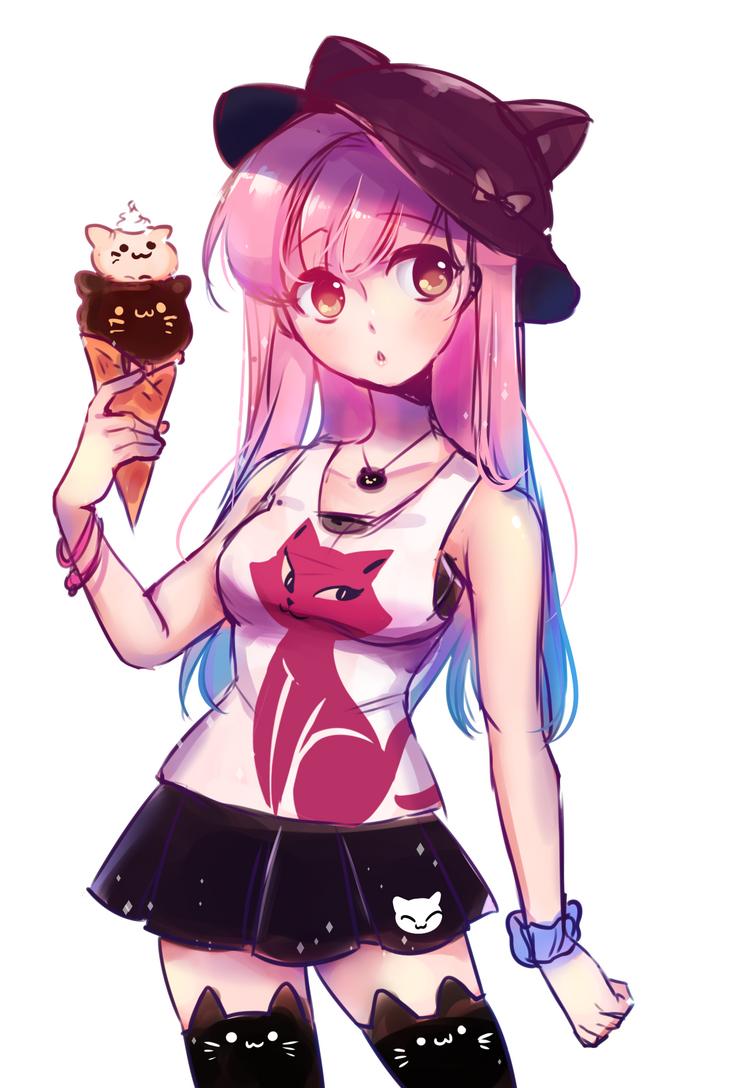 Neko + Ice cream [Quick Drawing] by Ryuuthelazybunny