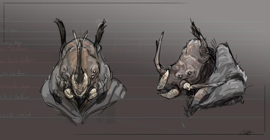 Rhinoceros Beetle Rhino Sketch by Cryoprime