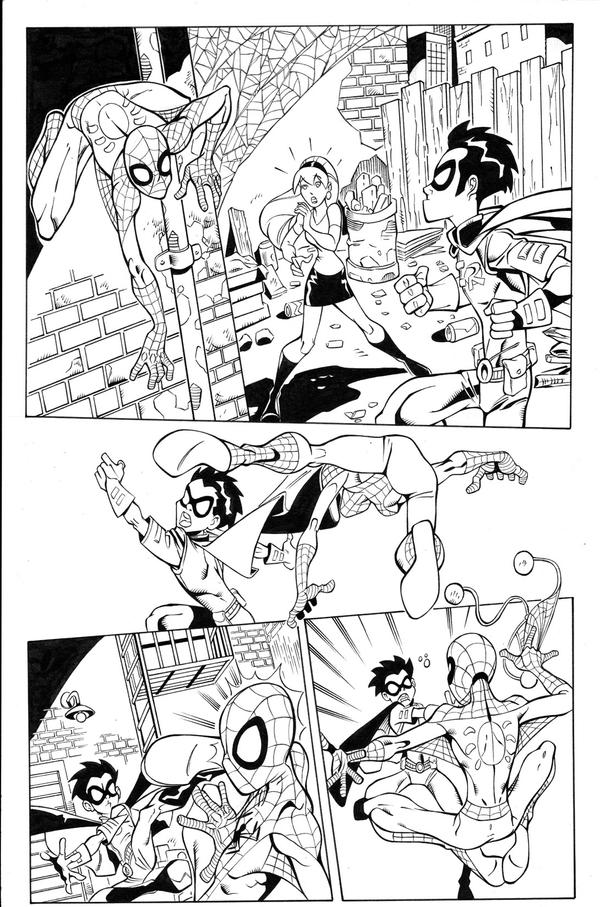 Spidey vs.TeenTitans pg1 inks by madman1