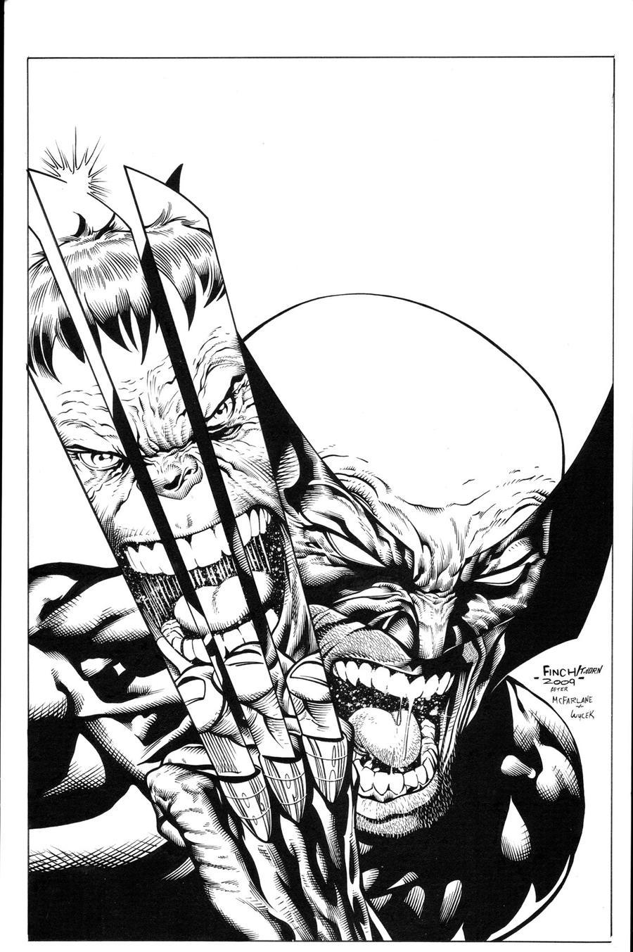 Hulk Wolverine Homage inks by madman1