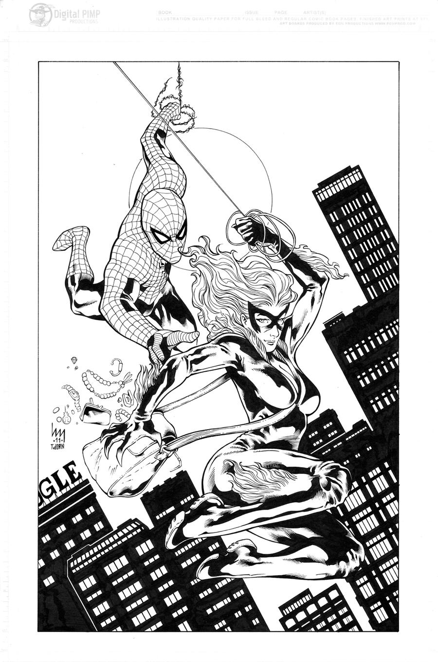Spiderman Black Cat Inks By Madman1