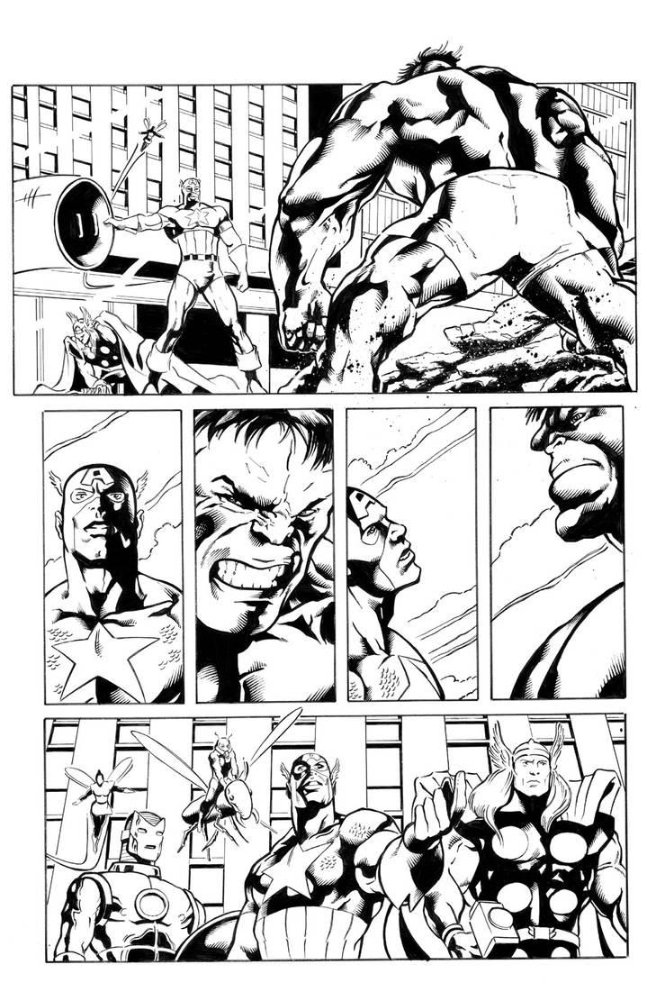 Avengers Pg3 Sample inks by madman1