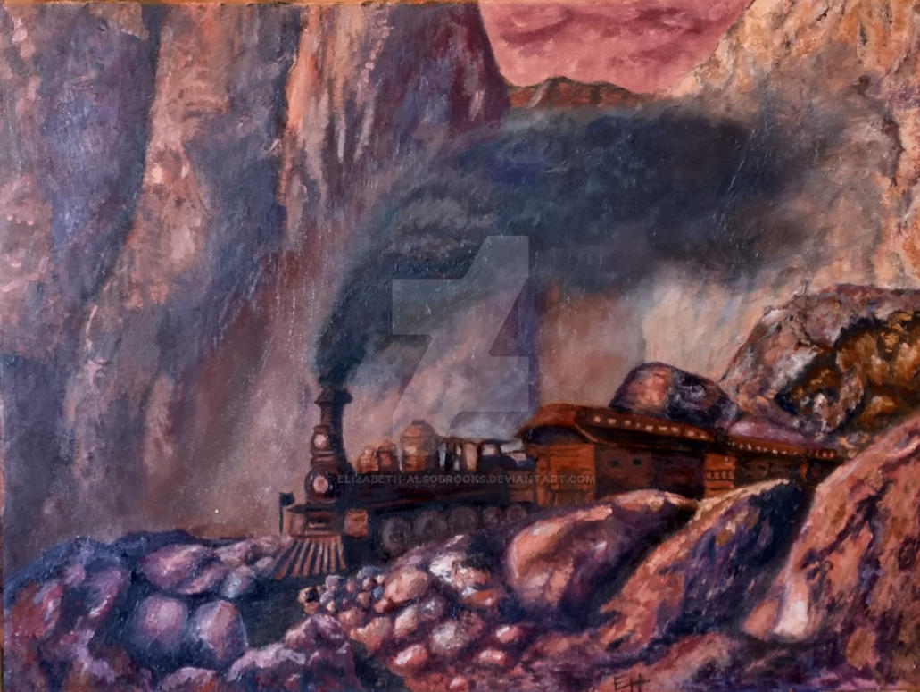 Finished Train In Redrock Canyon by Elizabeth-Alsobrooks