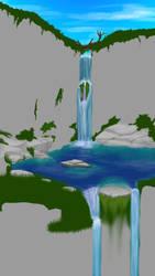 Work In Progress - Coloring - Waterfallish thing by JaceLaughingWolf