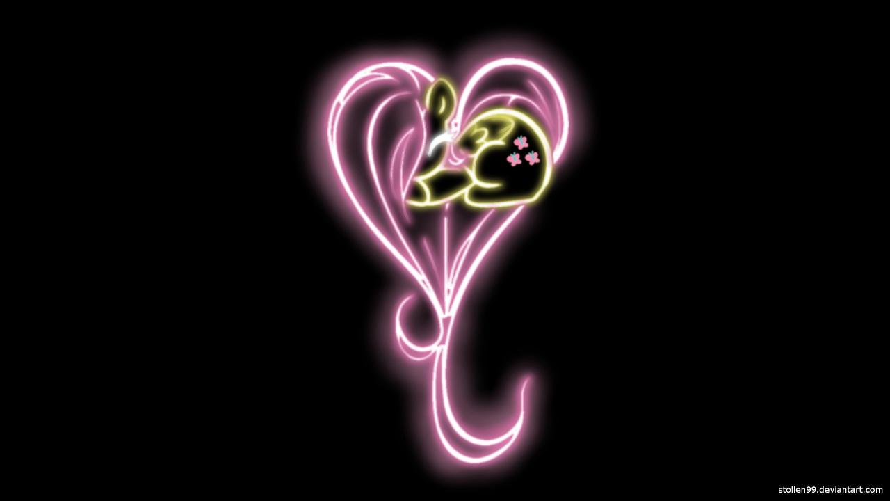 Fluttershy Heart Glow Wallpaper by Stollen99