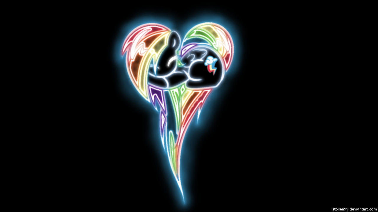 Rainbow Dash Heart Pony Glow Wallpaper by Stollen99
