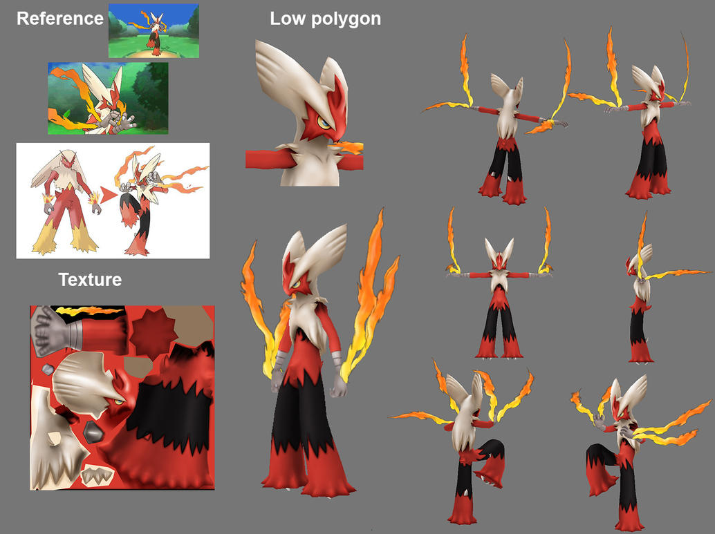 Mega blaziken Low polygon by XEROSEIS