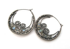 silver labradorite hoops by annie-jewelry