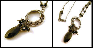 silver onyx necklace by annie-jewelry