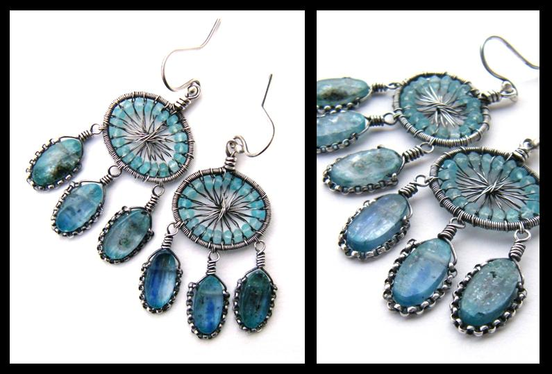 apatite and kyanite silver ear by annie-jewelry