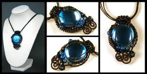 blue glass necklace by annie-jewelry