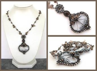 smokey silver necklace by annie-jewelry